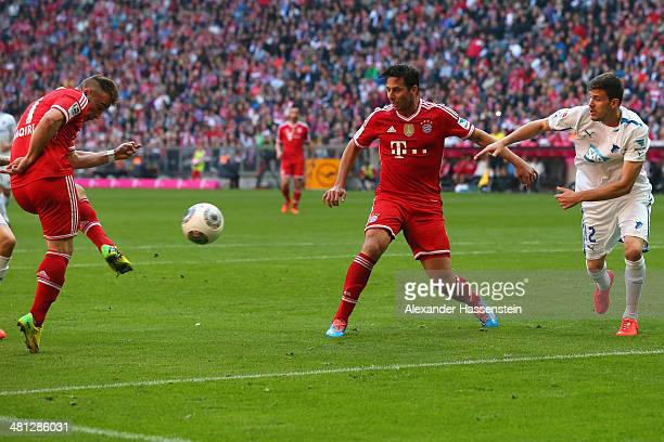 Xherdan Shaquiri of Muenchen scores the second team goal during the Bundesliga match between FC Bayern Muenchen and 1899 Hoffenheim at Allianz Arena...