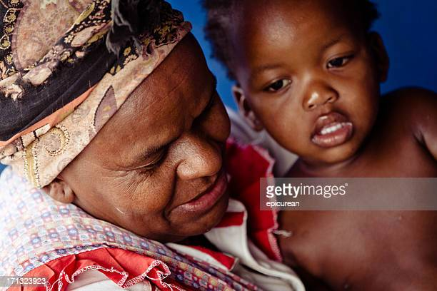 Xhosa grandmother and granddaughter in rural South Africa