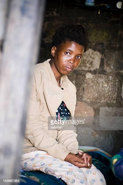 Xhosa woman inside of shelter