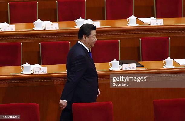 Xi Jinping China's president arrives for the opening of the third session of the 12th National People's Congress at the Great Hall of the People in...