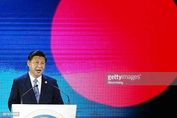 Xi Jinping China's president speaks at the AsiaPacific Economic Cooperation CEO Summit in Manila the Philippines on Wednesday Nov 18 2015 Xi...