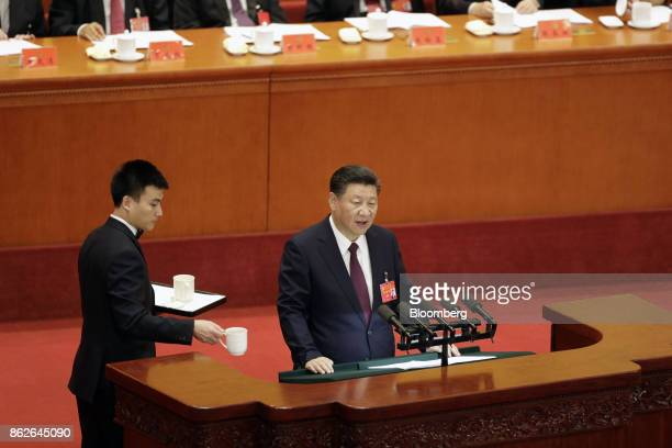 Xi Jinping China's president speaks during the opening of the 19th National Congress of the Communist Party of China at the Great Hall of the People...