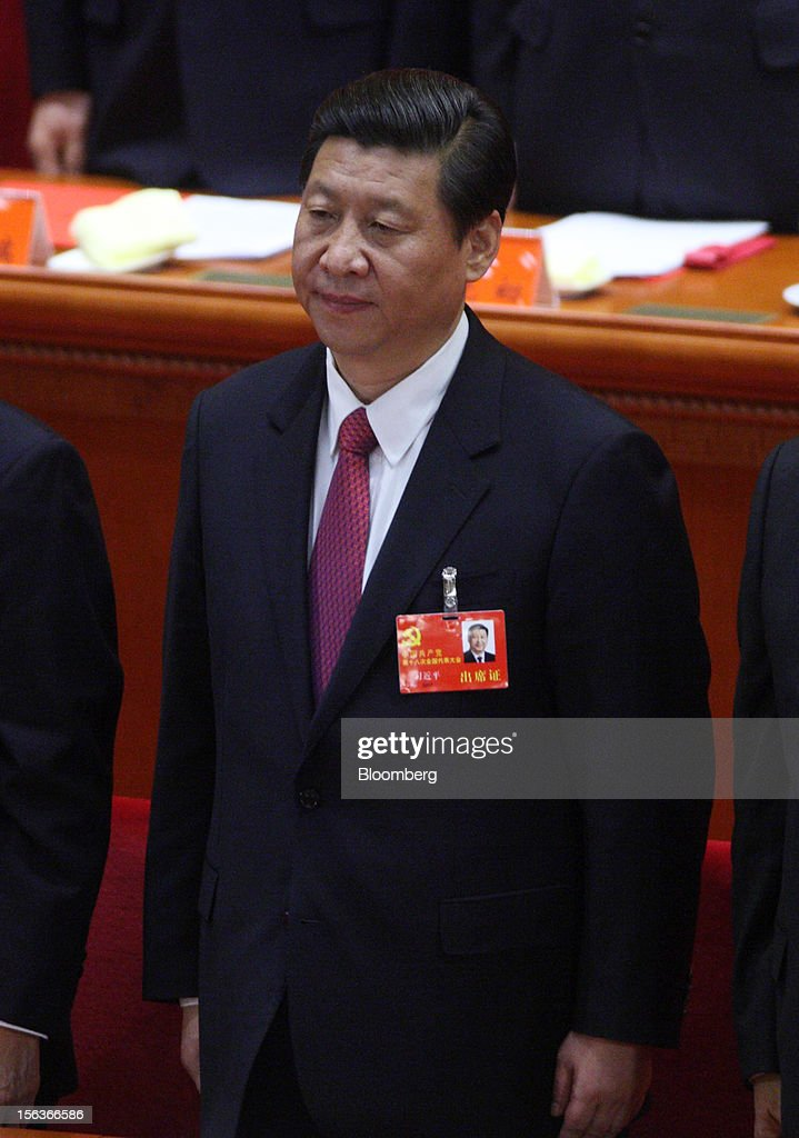 <a gi-track='captionPersonalityLinkClicked' href=/galleries/search?phrase=Xi+Jinping&family=editorial&specificpeople=2598986 ng-click='$event.stopPropagation()'>Xi Jinping</a>, China's vice president, attends the closing session of the 18th National Congress of the Communist Party of China at the Great Hall of the People in Beijing, China, on Wednesday, Nov. 14, 2012. Xi and Vice Premier Li Keqiang were reappointed to the Chinese Communist Party's Central Committee, positioning them to take over the top two posts in the world's second-biggest economy. Photographer: Tomohiro Ohsumi/Bloomberg via Getty Images