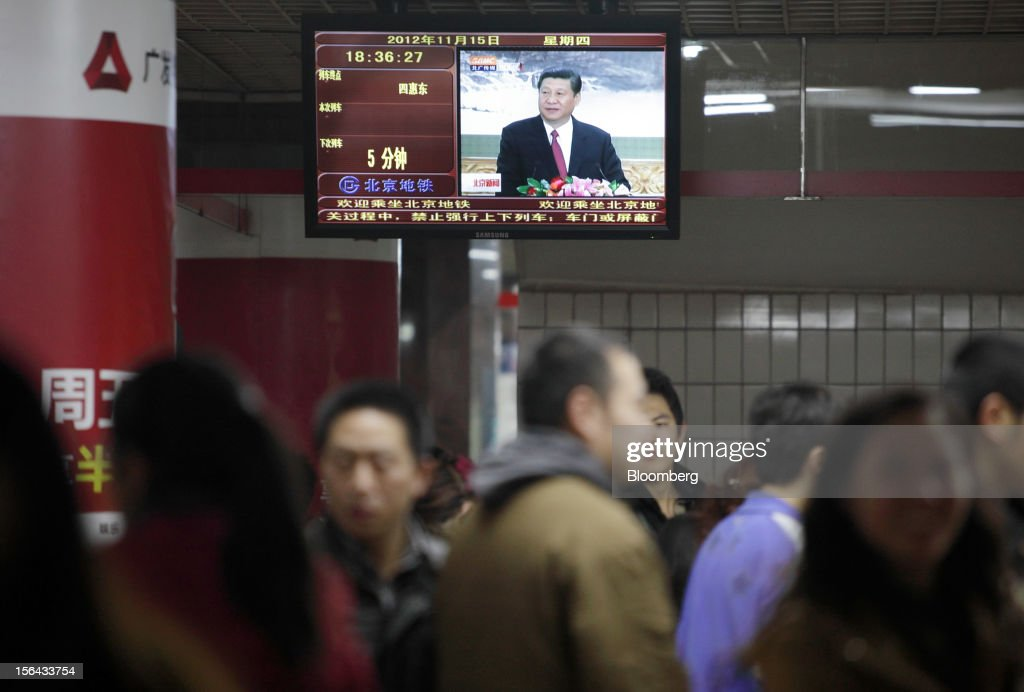 Xi Jinping, general secretary of the Communist Party of China, is seen during a news broadcast, displayed on a television monitor at a subway station in Beijing, China, on Thursday, Nov. 15, 2012. Xi Jinping replaced Hu Jintao as head of the Chinese Communist Party and the nation's military, ushering in the fifth generation of leaders who are set to run the world's second-biggest economy over the next decade. Photographer: Tomohiro Ohsumi/Bloomberg via Getty Images