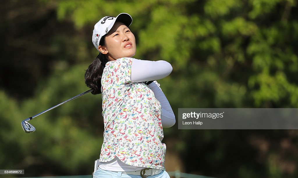 Xi Yu Lin from China hits her tee shot on the sixteenth holeduring the second round of the LPGA Volvik Championship on May 27, 2016 at Travis Pointe Country Club Ann Arbor, Michigan.