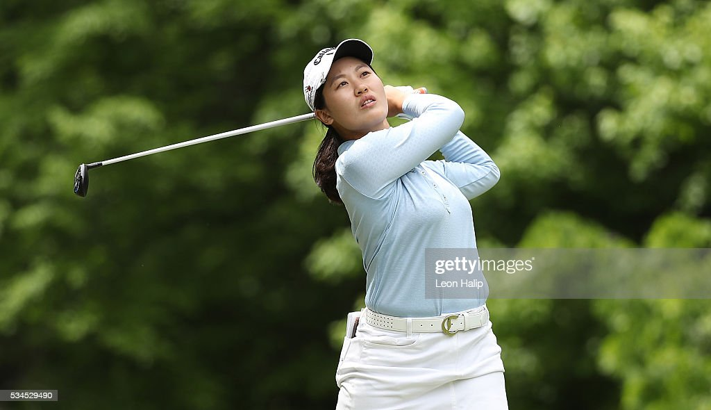 Xi Yu Lin of China hits her tee shot on the seventh hole during the first round of the LPGA Volvik Championship on May 26, 2016 at Travis Pointe Country Club Ann Arbor, Michigan.