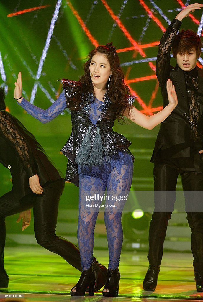 Xia of South Korean girl group Rania performs onstage during the MBC Music 'Show Champion' at Uniqlo-AX Hall on March 20, 2013 in Seoul, South Korea.