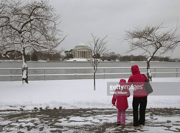 Xiabo Zhang and her daughter Chunyi Zhang who are visiting from China look at the snow covered cherry blossom trees that will be blooming in a few...