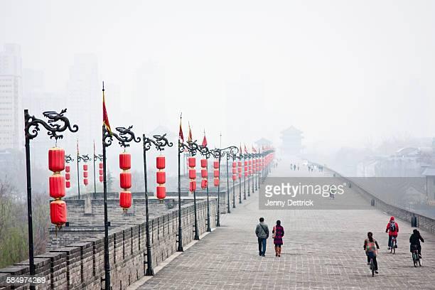 Xi'An City Wall, China, in fog