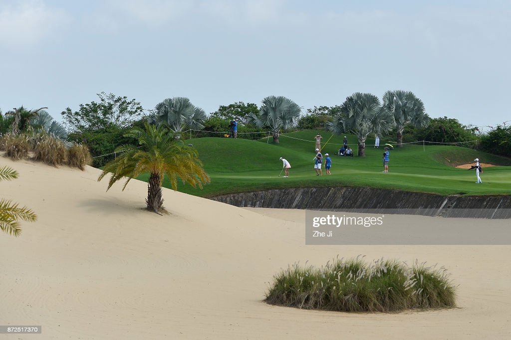 Xiang Sui of China plays a shot on the 9th hole during the third round of the Blue Bay LPGA at Jian Lake Blue Bay golf course on November 10, 2017 in Hainan Island, China.