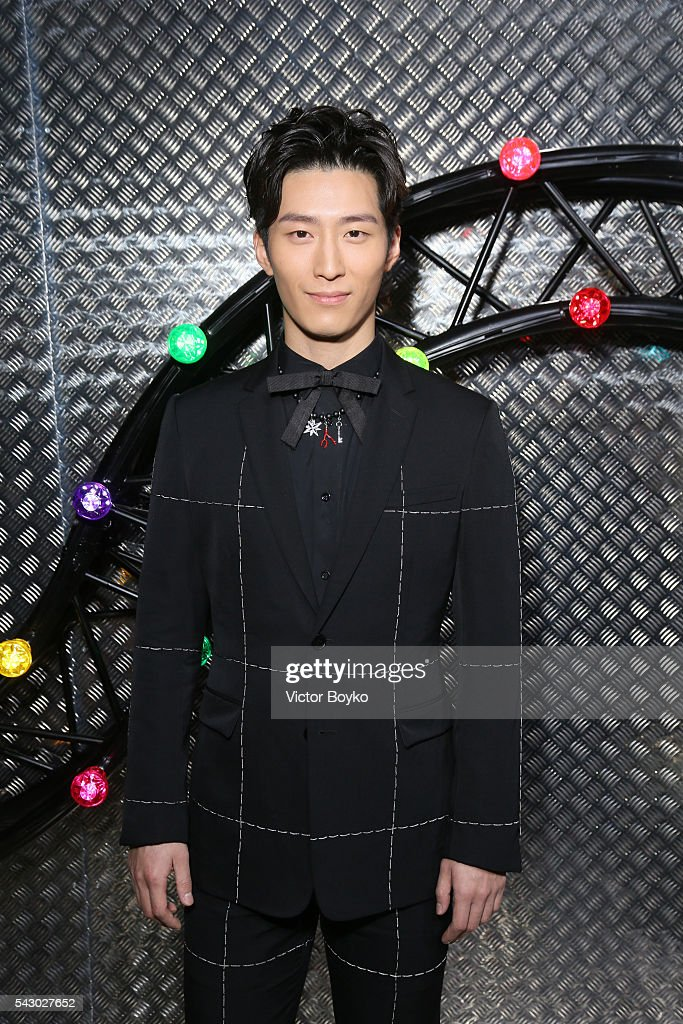Xiao Dou pose backstage at the Dior Homme Menswear Spring/Summer 2017 show as part of Paris Fashion Week on June 25, 2016 in Paris, France.