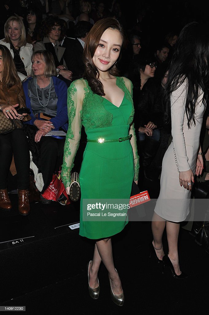 Xiao Lu Li attends the Elie Saab Ready-To-Wear Fall/Winter 2012 show as part of Paris Fashion Week on at Espace Ephemere Tuileries on March 7, 2012 in Paris, France.