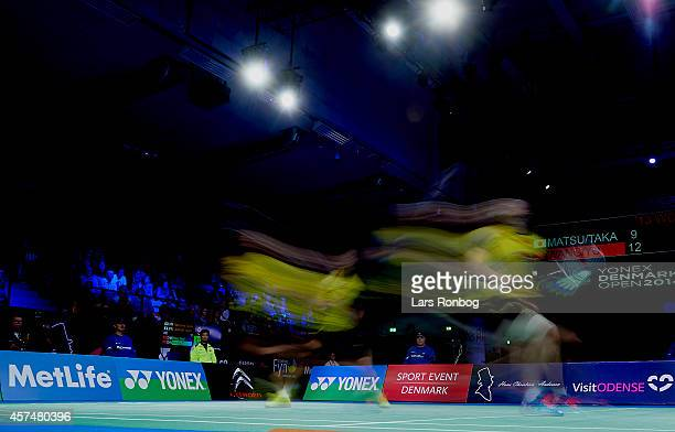 Xiaoli Wang and Yang Yu of China in action in the final during the Yonex Denmark Open MetLife BWF World Superseries at Odense Idratspark on October...