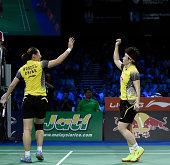 Xiaoli Wang and Yang Yu of China winning against Reika Kakiiwa and Miyuki Maeda of Japan in the semifinals during the LiNing BWF World Badminton...
