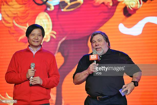 Xiaomi CEO Lei Jun and Steve Wozniak cofounder of Apple Inc and chief scientist of Fusionio Inc attend the Xiaomi 2013 Annual Conference at China...