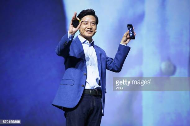 Xiaomi CEO Lei Jun makes a speech during the launch event of Mi 6 smartphone at Beijing University of Technology on April 19 2017 in Beijing China...