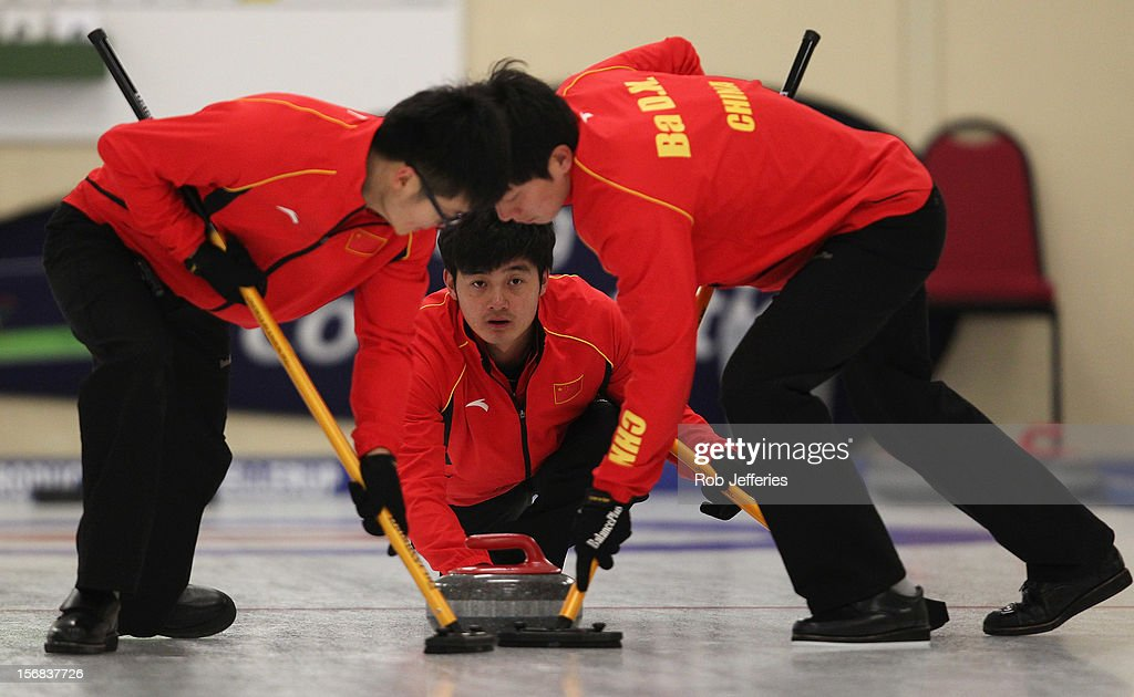 Xiaoming Xu of China in action during the Pacific Asia 2012 Curling Championship at the Naseby Indoor Curling Arena on November 23, 2012 in Naseby, New Zealand.