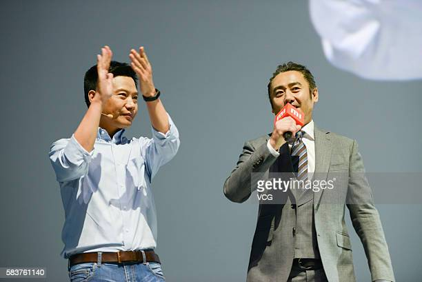 Xiaomi's CEO Lei Jun attends a new products launch event with actor Wu Xiubo as Xiaomi unveils latest dualcamera wielding Redmi Pro phone and 133inch...