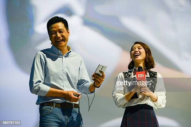 Xiaomi's CEO Lei Jun attends a new products launch event with actress Liu Shishi as Xiaomi unveils latest dualcamera wielding Redmi Pro phone and...