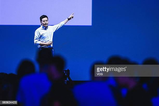 Xiaomi's CEO Lei Jun speaks on a new products launch event as Xiaomi unveils latest dualcamera wielding Redmi Pro phone and 133inch Mi Notebook Air...