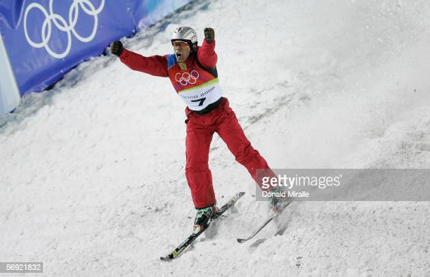 Xiaopeng Han of China celebrates after his final jump en route to winning the gold medal in the Mens Freestyle Skiing Aerials Final on Day 13 of the...