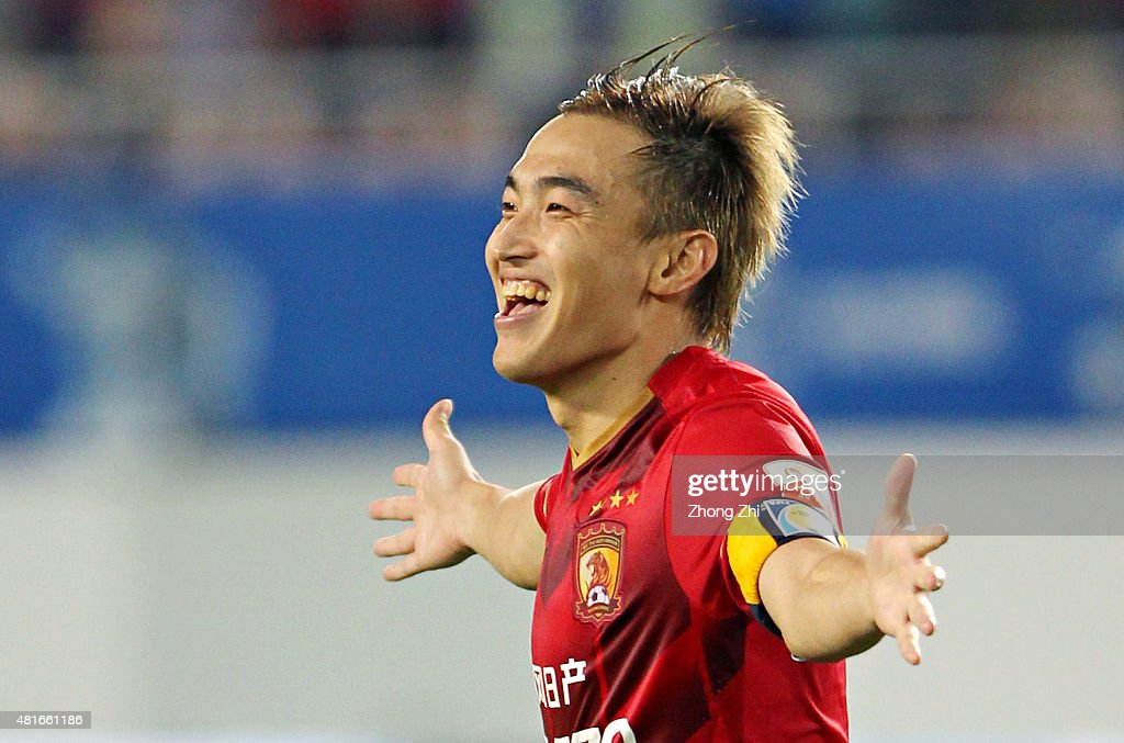 <a gi-track='captionPersonalityLinkClicked' href=/galleries/search?phrase=Xiaoting+Feng&family=editorial&specificpeople=2333049 ng-click='$event.stopPropagation()'>Xiaoting Feng</a> of Guangzhou Evergrande Taobao FC celebrates for scoring the winning penalty during the International Friendly Match of Volkswagen Cup between Guangzhou Evergrande Taobao FC and Bayern Munchen FC at Tianhe Stadium on July 23, 2015 in Guangzhou, China.