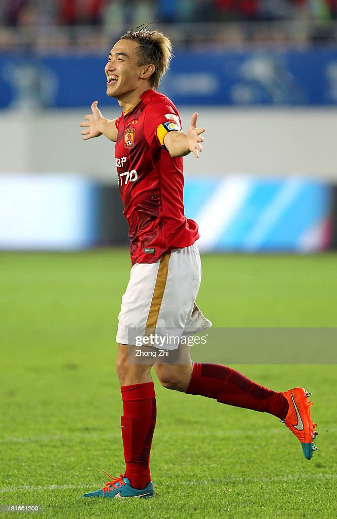 <a gi-track='captionPersonalityLinkClicked' href=/galleries/search?phrase=Xiaoting+Feng&family=editorial&specificpeople=2333049 ng-click='$event.stopPropagation()'>Xiaoting Feng</a> of Guangzhou Evergrande Taobao FC celebrates scoring the winning penalty during the International Friendly Match of Volkswagen Cup between Guangzhou Evergrande Taobao FC and Bayern Munchen FC at Tianhe Stadium on July 23, 2015 in Guangzhou, China.