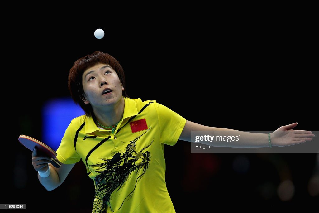 Xiaoxia Li of China competes during the Women's Singles Table Tennis semi-final match against Kasumi Ishikawa of Japan on on Day 4 of the London 2012 Olympic Games at ExCeL on July 31, 2012 in London, England.