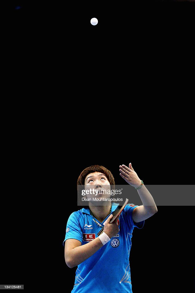 <a gi-track='captionPersonalityLinkClicked' href=/galleries/search?phrase=Xiaoxia+Li&family=editorial&specificpeople=4049514 ng-click='$event.stopPropagation()'>Xiaoxia Li</a> of China in action against Ding Ning of China during the Womens Singles Semi Final match during day three of the ITTF Pro Tour Table Tennis Grand Finals at ExCel on November 26, 2011 in London, England.
