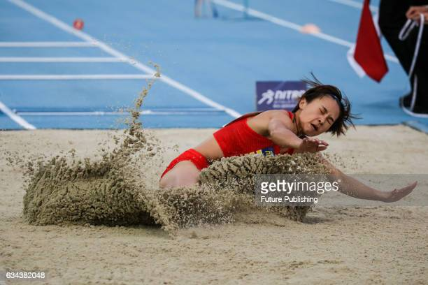 Xiaoxue Zhou of Team China in the long jump on night 2 of Nitro Athletics on February 9 2017 in Melbourne Australia Chris Putnam / Barcroft Images...
