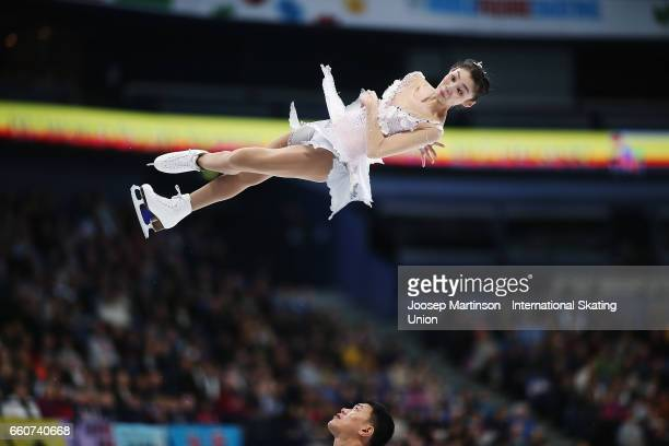 Xiaoyu Yu and Hao Zhang of China compete in the Pairs Free Skating during day two of the World Figure Skating Championships at Hartwall Arena on...
