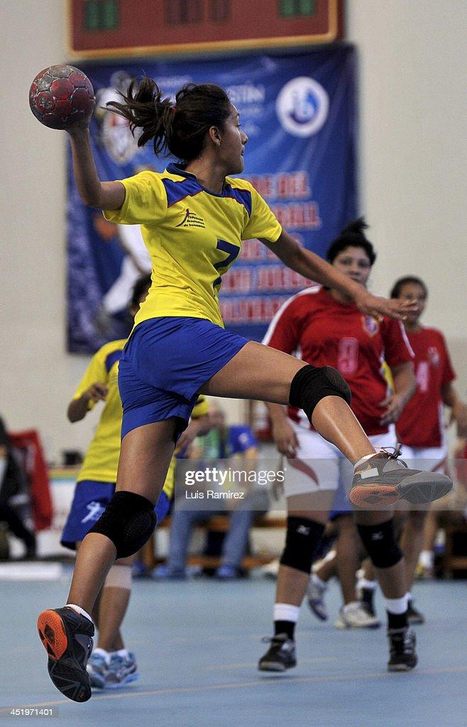 Ximena Cede–o of Ecuador in action during a match between Venezuela and Ecuador in Women's handball as part of the XVII Bolivarian Games Trujillo 2013 at Colegio San Agustin on November 25, 2013 in Chiclayo, Peru.