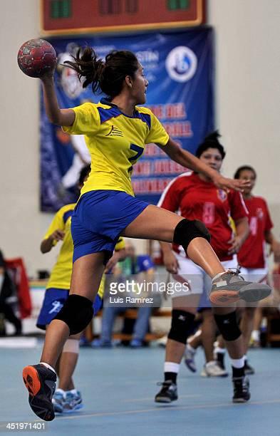 Ximena Cede–o of Ecuador in action during a match between Venezuela and Ecuador in Women's handball as part of the XVII Bolivarian Games Trujillo...