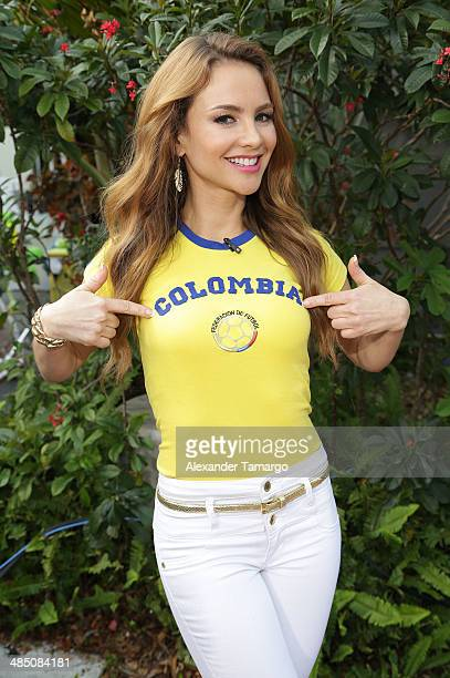 Ximena Cordoba poses during FIFA World Cup Trophy Tour on the set of Despierta America at Univision Headquarters on April 16 2014 in Miami Florida