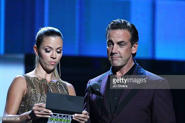 Ximena Duque and Carlos Ponce speak onstage during Telemundo's Latin American Music Awards 2015 at Dolby Theatre on October 8 2015 in Hollywood...
