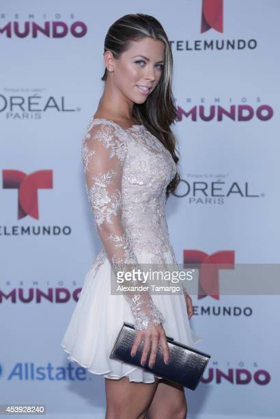 Ximena Duque arrives at Telemundo's Premios Tu Mundo Awards 2014 at American Airlines Arena on August 21 2014 in Miami Florida