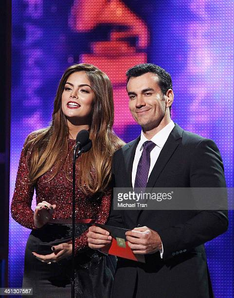 Ximena Navarrete and actor David Zepeda speak onstage during the 14th Annual Latin GRAMMY Awards held at Mandalay Bay Resort and Casino on November...