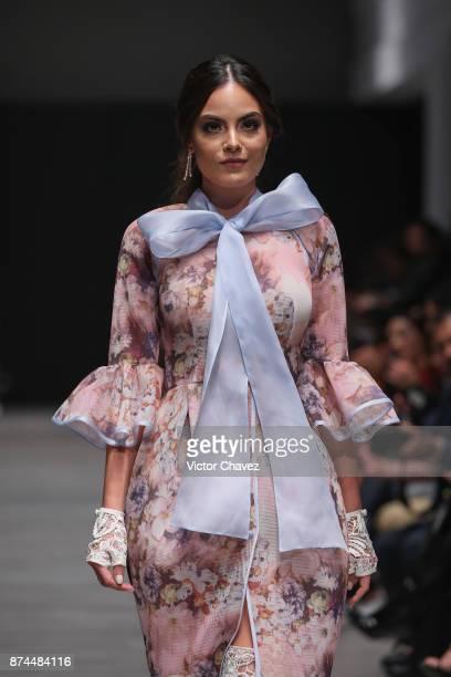 Ximena Navarrete and fashion designers Benito Santos walk the runway during Mercedes Benz Fashion Week Mexico Spring/Summer 2018 at Altto San Angel...