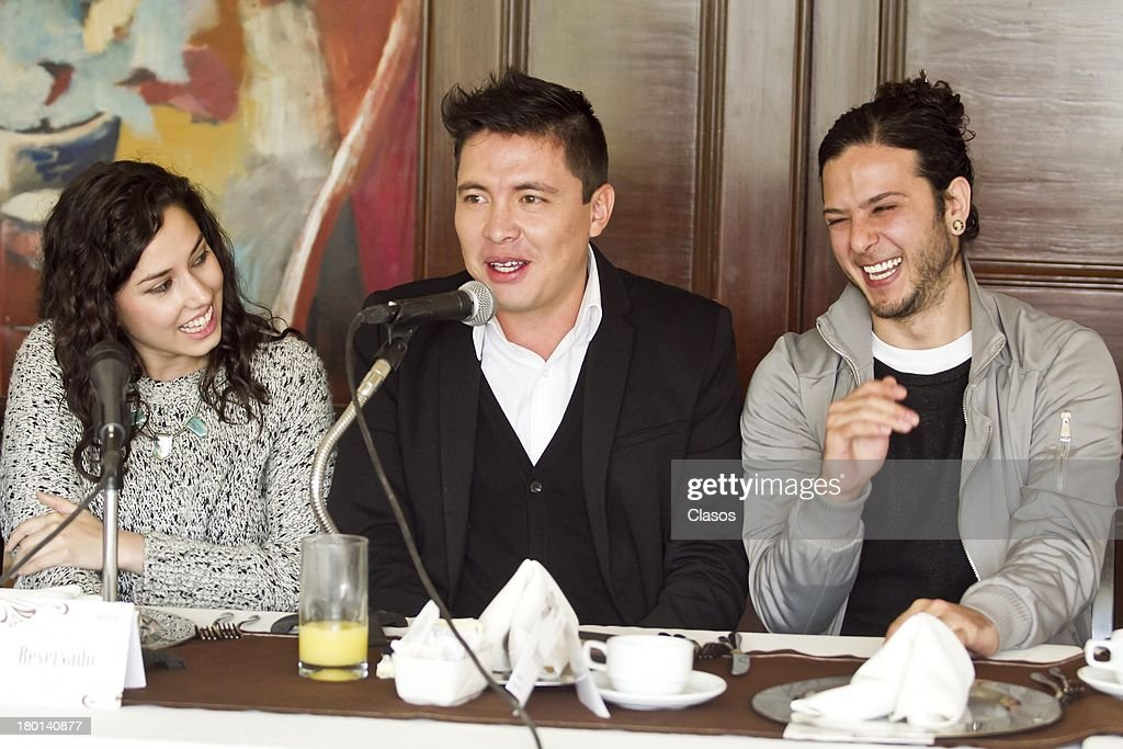 Ximena Romo; Armando Hernandez and Diego Cohen speak during a press conference to present the Colima Film Festival 2013 at Del Bosque Restauran ton Septmeber 09, 2013 in Mexico City, Mexico.