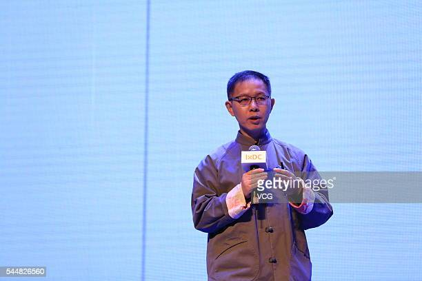 Xin Xiangyang College Professor of design at Jiangnan University delivers a speech during the International Conference of Experience Design 2016 on...