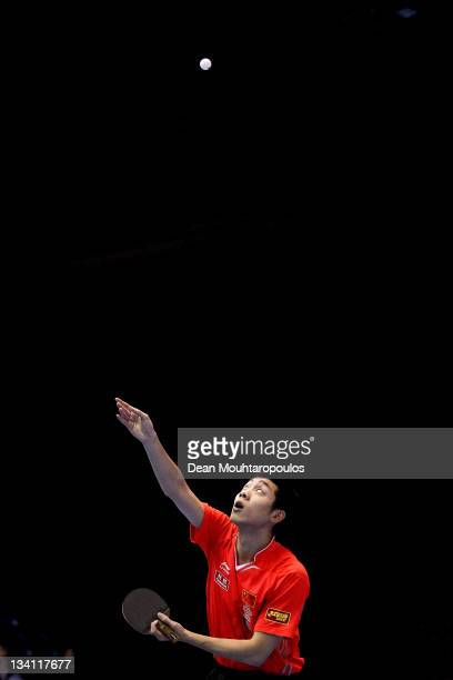 Xin Xin of China in action against Hao Wang of China during the Mens Singles Quarter Finals match during day three of the ITTF Pro Tour Table Tennis...