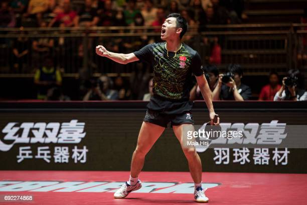 Xin Xu of China celebrates during Men's Singles quarter final against Tomokazu Harimoto of Japan at Table Tennis World Championship at at Messe...