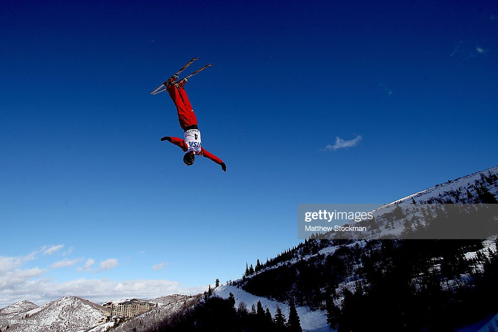 Xin Zhang #4 of China jumps in qualifying for the Ladies Aerials during the Visa Freestyle International at Deer Valley on February 1, 2013 in Park City, Utah.