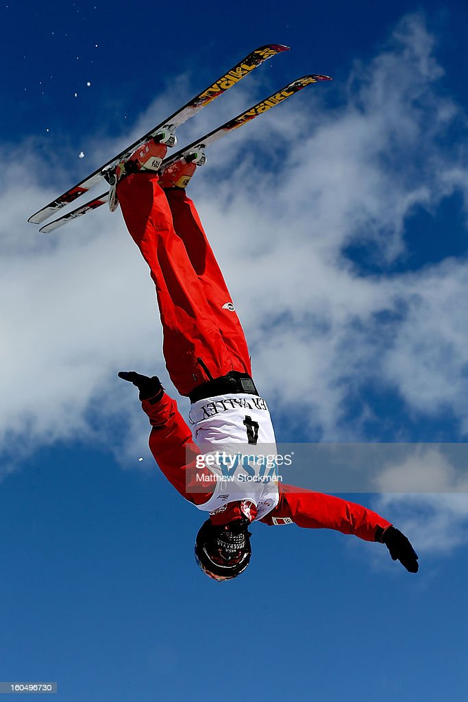 Xin Zhang #4 of China jumps while training for the Ladies Aerials during the Visa Freestyle International at Deer Valley on February 1, 2013 in Park City, Utah.