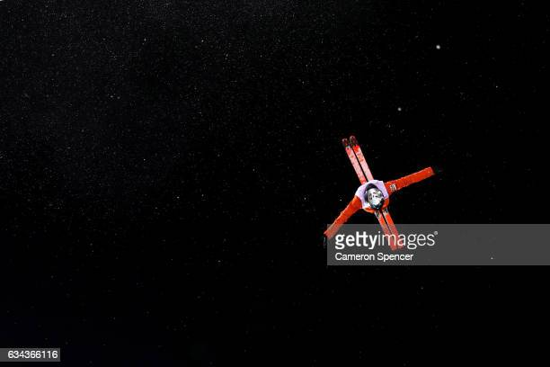 Xindi Wang of China performs an aerial during Aerials training prior to the FIS Freestyle World Cup at Bokwang Snow Park on February 9 2017 in...