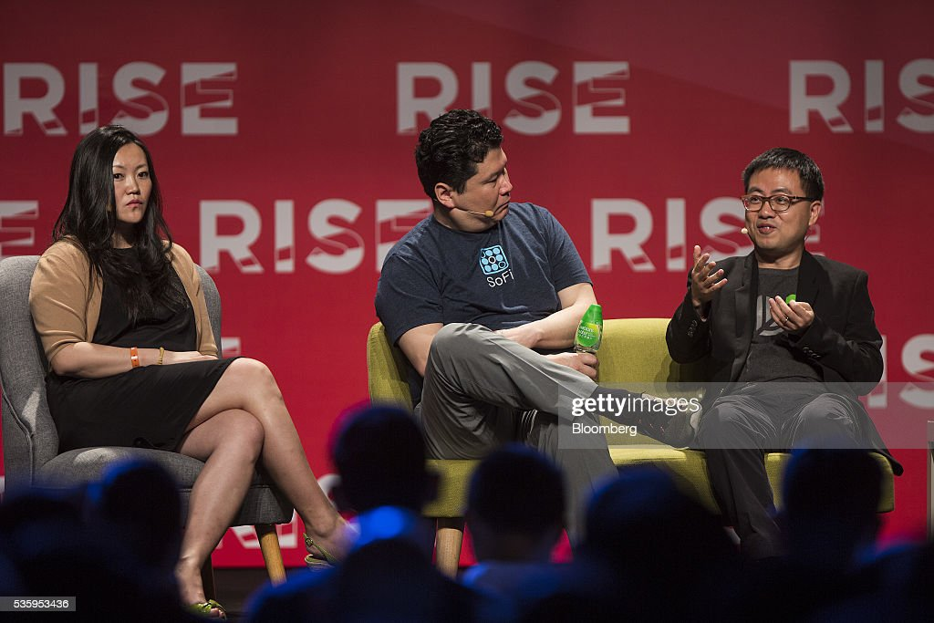 Xing Liu, partner at Sequoia Capital, right, speaks as Anna Fang, partner and chief executive officer of ZhenFund, left, and David Chao, co-founder and general partner of DCM Ventures, listen during the Rise conference in Hong Kong, China, on Tuesday, May 31, 2016. The conference runs through June 2. Photographer: Justin Chin/Bloomberg via Getty Images