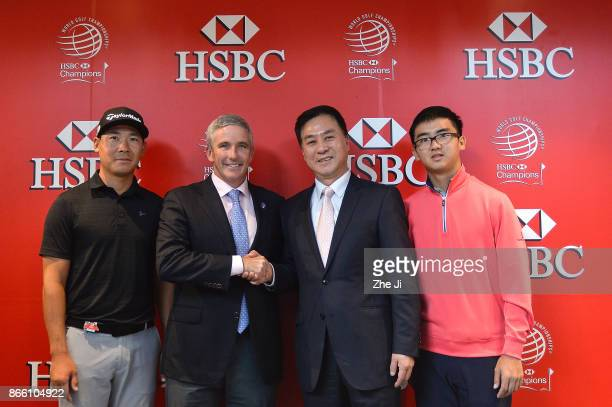 Xinjun Zhang Chinese player Jay Monahan PGA TOUR Commissioner Zhang Xiaoning China Golf Association President and Zecheng Dou Chinese player at the...
