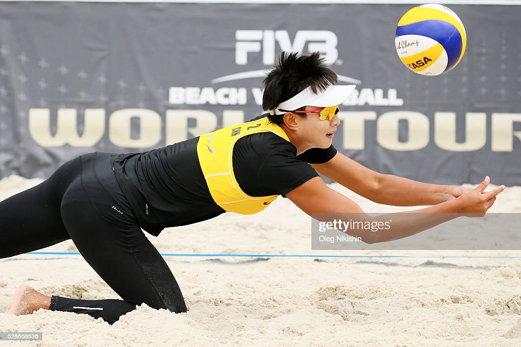 Xinyi XIA of China digging during day 4 of FIVB Sochi Open presented by VTB on May 6, 2016 in Sochi, Russia.