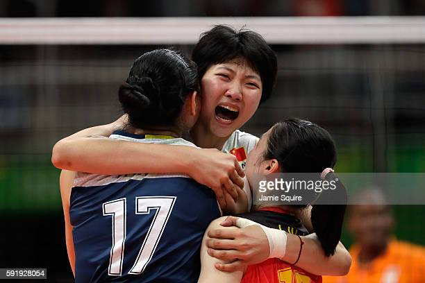 Xinyue Yuan of China celebrates victory over the Netherlands in the Women's Volleyball Semifinal match at the Maracanazinho on Day 13 of the 2016 Rio...