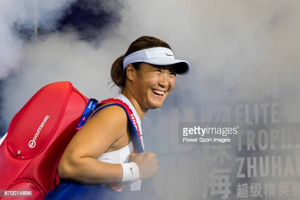 Xinyun Han of China walks to the court prior to the doubles Round Robin match of the WTA Elite Trophy Zhuhai 2017 against Chen Liang and Zhaoxuan...